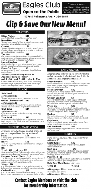 Clip & Save Our New Menu!