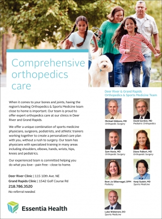 Comprehensive Orthopedics Care