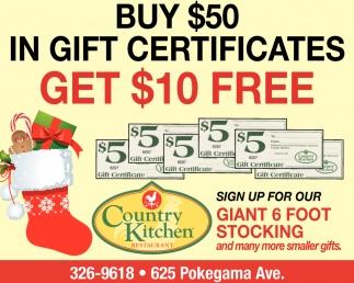 Buy $50 In Gift Certificates , Country Kitchen Restaurant ...