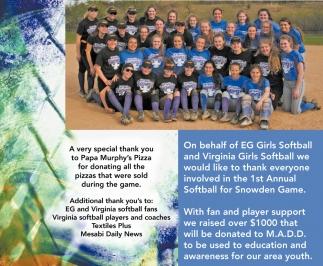 A Very Special Thank Eg Girls Softball And Virginia Girls Softball