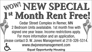 New Special 1st Month Rent Free!