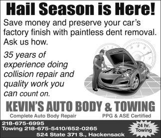 Complete Auto Body Repair Kevins Auto Body Towing Hackensack Mn