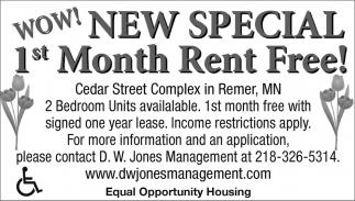 1st Month Rent Free!