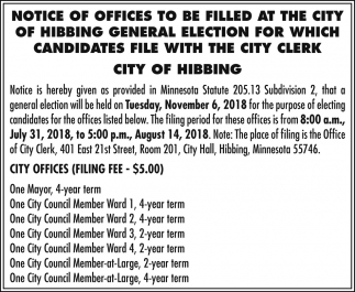 Notice Of Offices To Be Filled