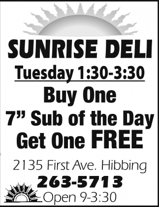 Buy One 7' Sub Of The Day Get One Free