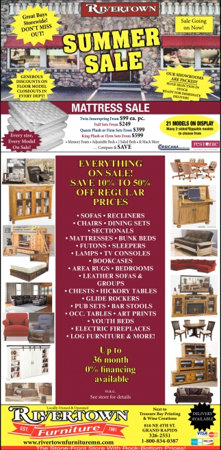 Summer Sale, Rivertown Furniture, Grand Rapids, MN