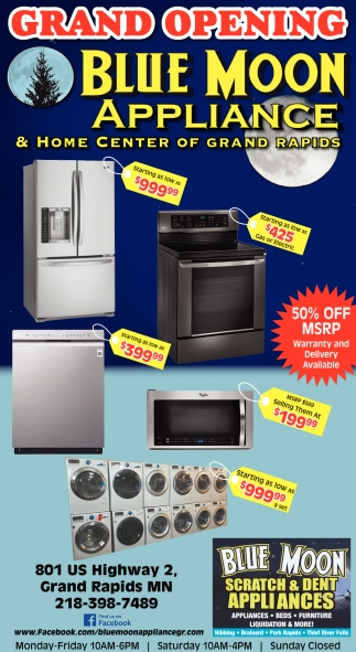 Grand Opening Blue Moon Appliances, Scratch And Dent Furniture Mn