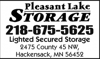 Ads For Pleasant Lake Storage In Hackensack, MN