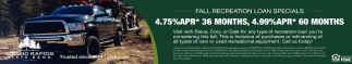 Fall Recreational Loans Specials