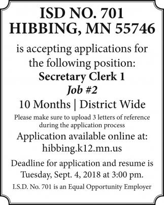 Secretary Clerk I