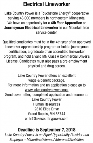 Electrical Lineworker Lake Country Power Grand Rapids Mn
