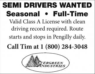 Semi Drivers Wanted