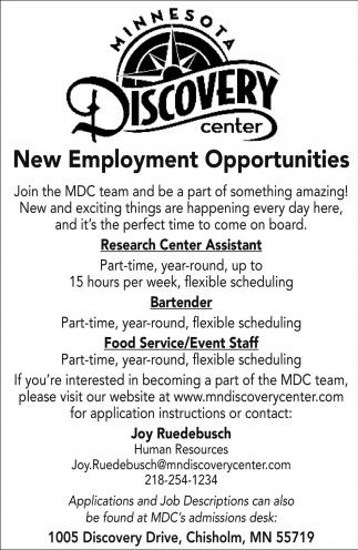 New Employment Opportunities