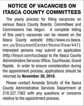 Notice Of Vacancies