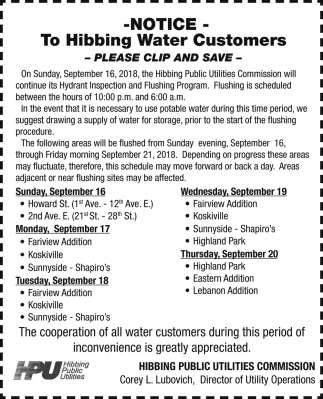 Notice To Hibbing Water Cusutomers