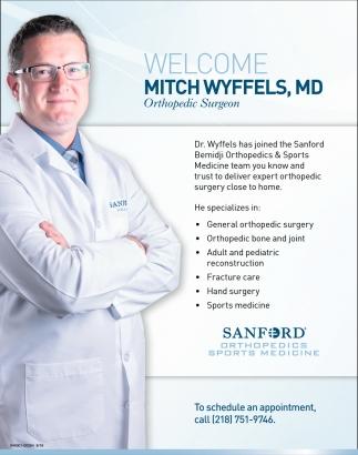 Welcome Mitch Wyffels Md Sanford Orthopedics Sports Medicine