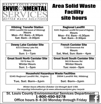 Area Solid Waste Facility Site Hours Saint Louis County