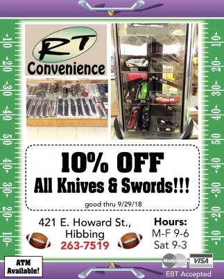 10% Off All Knives & Swords!!!