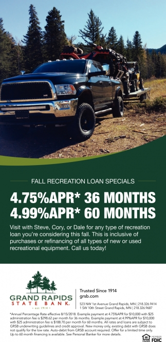 Fall Recreational Loan Specials