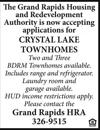 Now Accepting Applications For Crystal Lake Townhomes