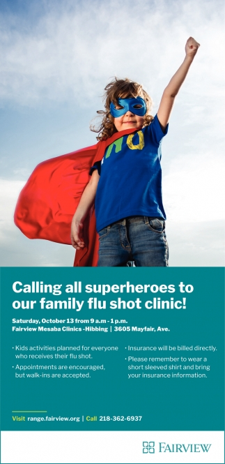 Calling All Superheroes To Our Family Flu Shot Clinic!