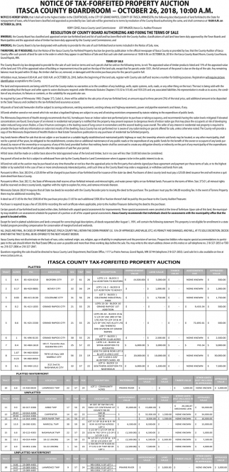 Notice Of Tax-Forfeited Property Auction