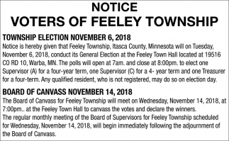Notice Voters Of Feeley Township