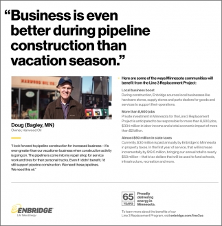 Business Is Even Better During Pipeline Construction Than Vacation Season