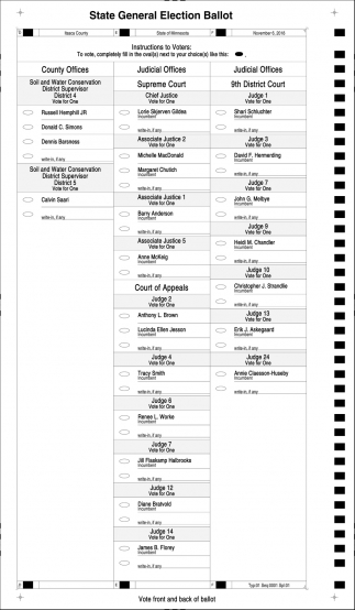 State General Election Ballot