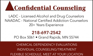 Chemical Dependency Evaluations Confidential Counseling