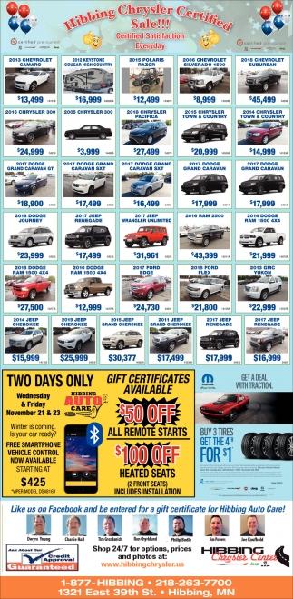 Hibbing Chrysler Certified Sale!!!