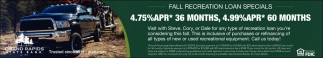Fall Recreational Loans Specials