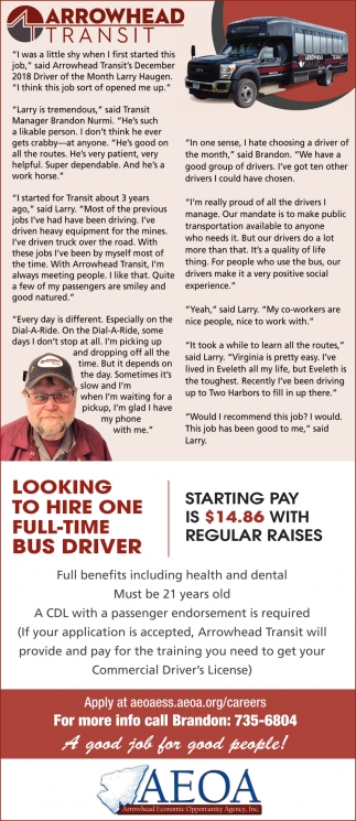 Looking To Hire One Full-Time Bus Driver