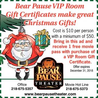 VIP Room Gift Certificates