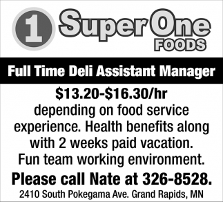 Full Time Deli Assistant Manager