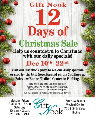 Gift Nook 12 Days Of Christmas Sale