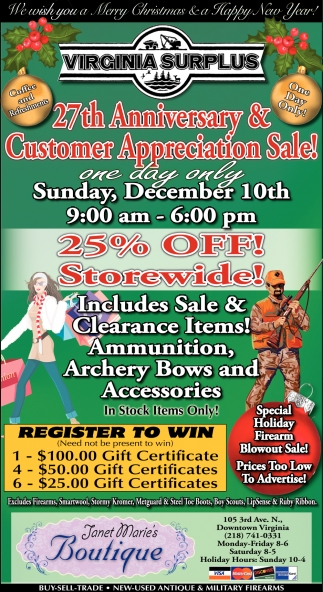 27th Anniversary & Customer Appreciation Sale!
