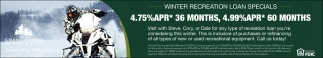 Winter Recreational Loan Specials