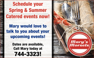 Schedule Your Spring & Summer Catered Events Now!