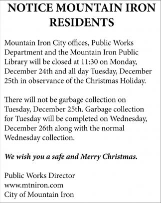 Notice Mountain Iron Residents