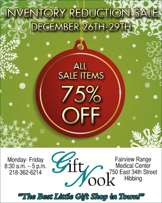 Inventory Reduction Sale December 26th-29th