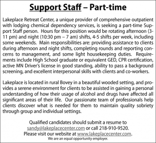 Support Staff - Part-Time