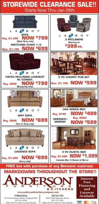Storewide Clearance Sale Anderson Furniture Duluth Mn