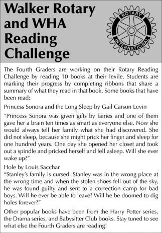 The Fourth Grades Are Working On Their Rotary Reading Challenge
