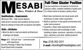 Full-Time Glazier Position
