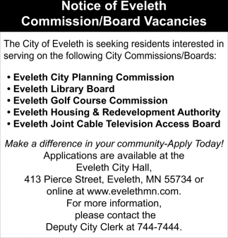 Notice Of Eveleth Commission/Board Vacancies