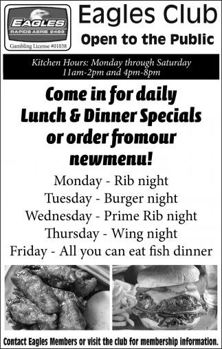 Come In For Daily Lunch & Dinner Specials