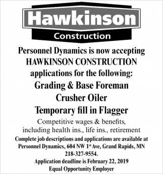 Is Now Accepting Hawkinson Construction Applications