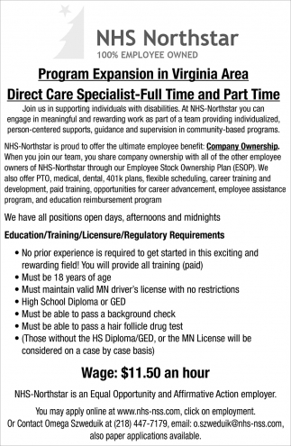 Direct Care Specialist