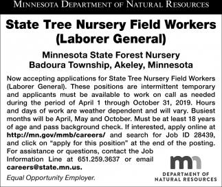 State Tree Nursery Field Worker